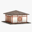 3d render of japanese house