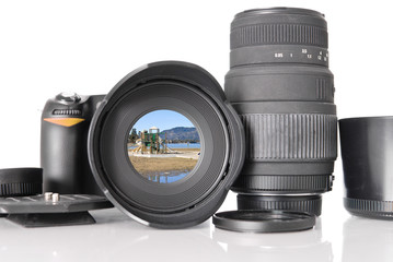 SLR Camera with Photograph Image in Lens