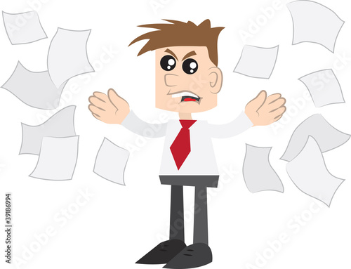 Isolated business man angrily throwing papers