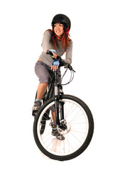 Woman bicyclist isolated on white.