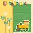 baby shower - nascita bimbo - fiori, cuori, trenino