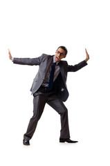 Businessman pushing away virtual problems