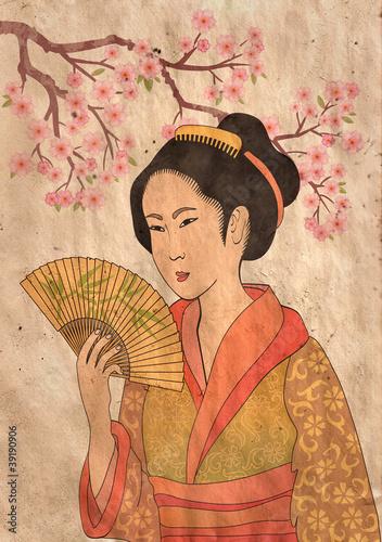 Fototapeten,geisha,japanese,japan,kunst
