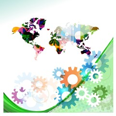 gears world map vector background