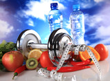 fitness, water and healthy food