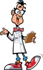 happy cartoon professor scientist