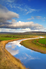 Idyllic scenery of sky reflected in Shannon river