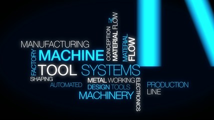 Machine tools manufacturing systems industry tag cloud animation