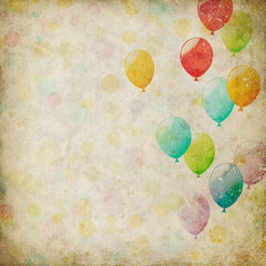 grunge background with balloons