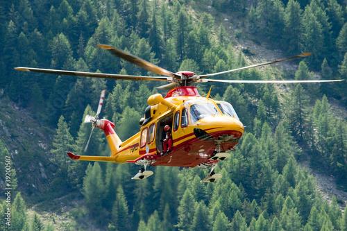 Fotobehang Helicopter Elisoccorso Alpino Valdostano