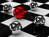 Fotoroleta Metalowe kule na szachownicy