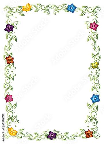 GamesAgeddon - Rahmen, Ranke, flora, Blumen, Blätter, bunt ...