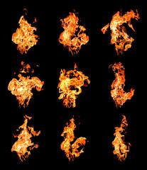 Set of fire flames raising high