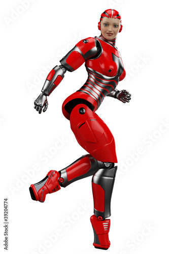 woman robot running