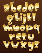 Lower case gold alphabet