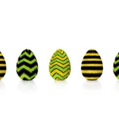Eier flauschig gelb schwarz grün gemustert