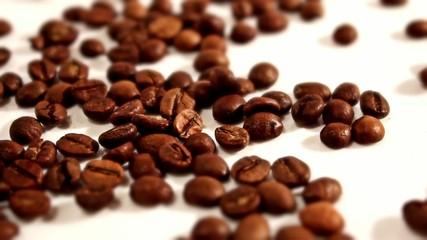 Falling grains of coffee