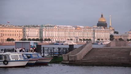 walking on a boat in St. Petersburg