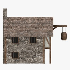 3d render of medieval building