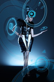 Attractive african woman in capsule with hologram poster