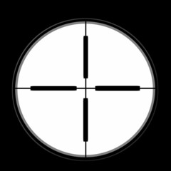 sniper sight isolated on black background,  illustration