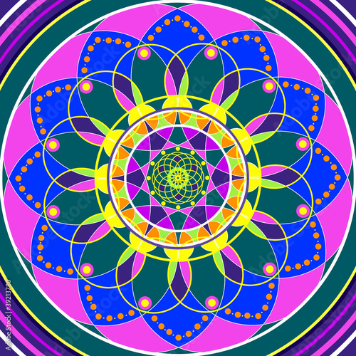 Floral mandala, geometric drawing sacred circle