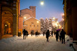 St. Stefano square covered by snow. Bologna, Italy.