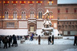 Neptune square covered by snow. Bologna, Italy.