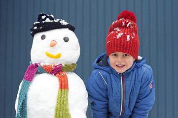 Kind und Schneemann 3