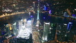 Bird's eye view of Shanghai at night. time lapse