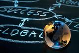 Flowchart on a chalk board. World globe. poster