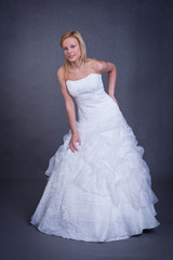 young bride in wedding dress