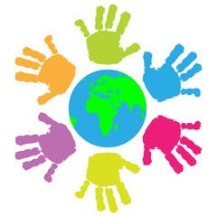 Children hand print around the Earth