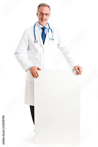 Doctor showing an empty sign