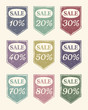Vintage colourful sale icons set
