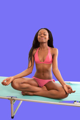 Yoga happiness beautiful black woman in bikini