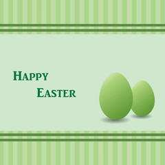 Green easter card with two green eggs, striped background. Space