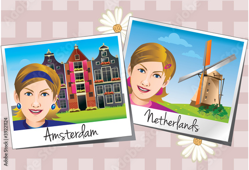 Vector illustration of tourist photos in Europe