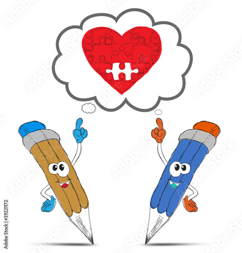 happy pencil cartoon think my red heart