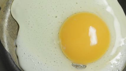 Fried egg in pan.