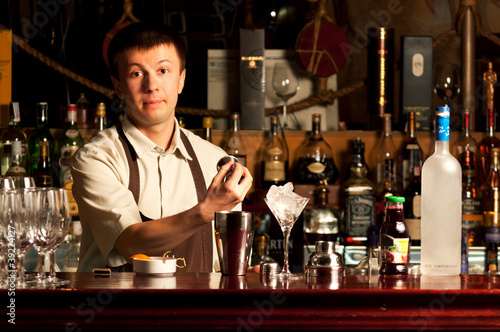 Barman at work