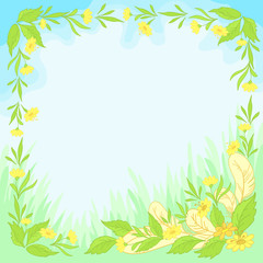 Flowers, leaves and feathers on blue background