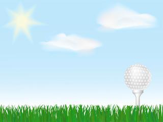 Golf ball on tee on green grass