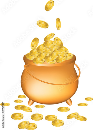 Pot full of gold coins isolated on white background