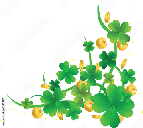 Patrick's Day frame with clovers and golden coins