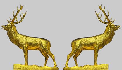 Zwei röhrende goldene Hirsche