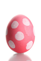 Pink Easter Egg with white point  isolated on white