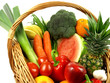 Many vegetables and fruits on isolated background