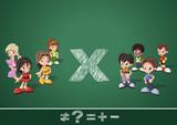 Math symbols and kids on green blackboard. Boys versus girls. poster