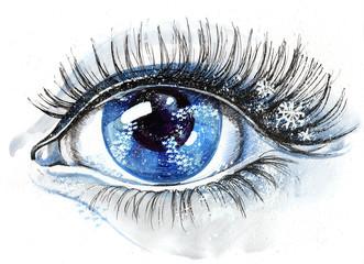 eye with snowflakes (series C)